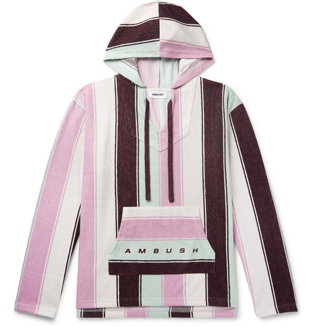 Oversized Logo Print Striped Cotton Blend Terry Hoodie by Ambush®