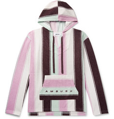 AMBUSH® - Oversized Logo-Print Striped Cotton-Blend Terry Hoodie
