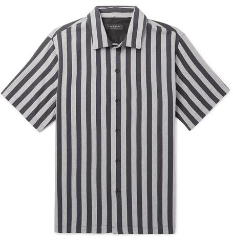 Avery Striped Camp Collar Cotton Shirt by Rag &Amp; Bone