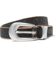 Our Legacy 2cm Black Distressed Leather Belt