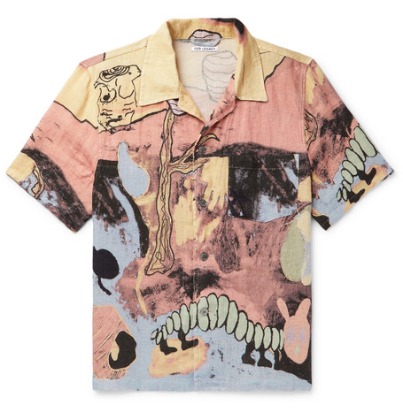 Our Legacy T-shirts PRINTED LINEN SHIRT - PINK