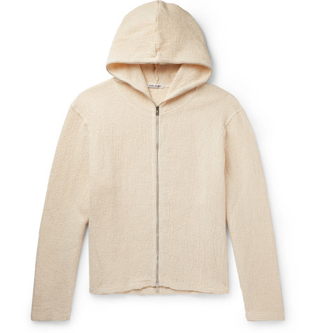 Waffle Knit Linen And Cotton Blend Hoodie by Our Legacy