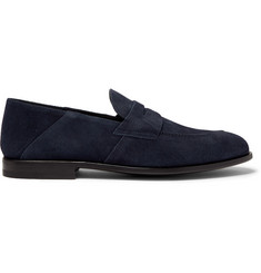 Samuel Collapsible-heel Suede Penny Loafers - Navy