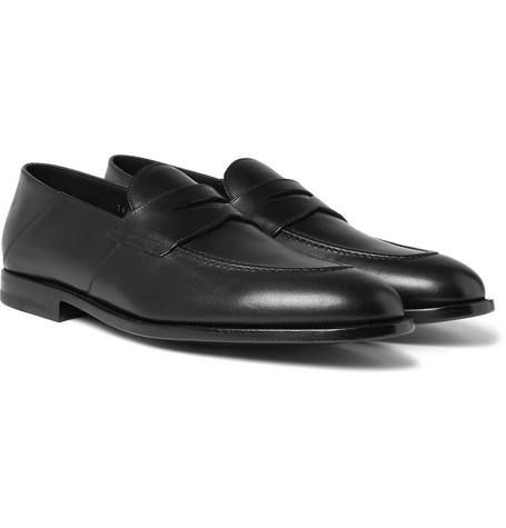 Samuel Collapsible-heel Leather Penny Loafers - Black