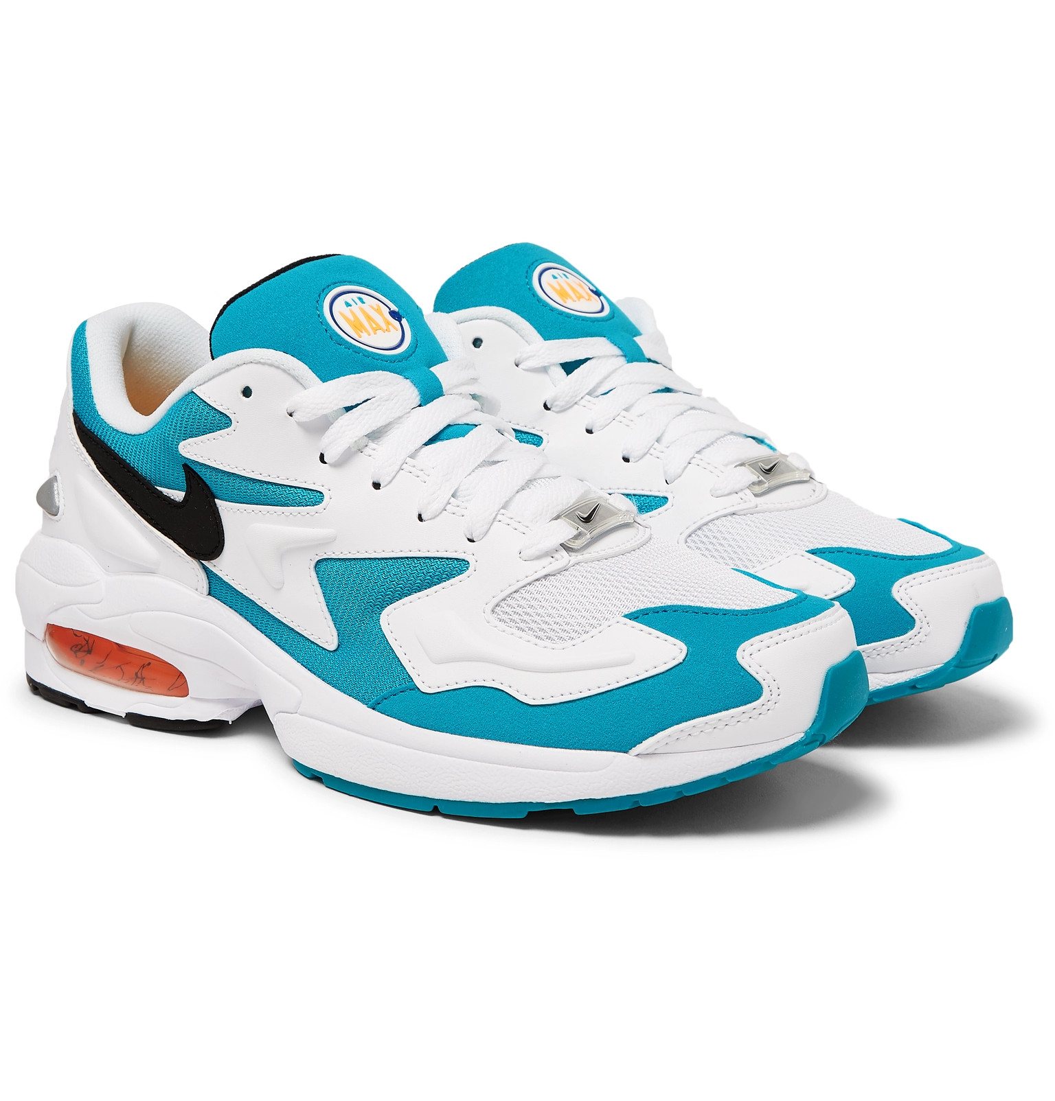 717984aa6962 Nike - Air Max2 Light Mesh and Faux Leather Sneakers