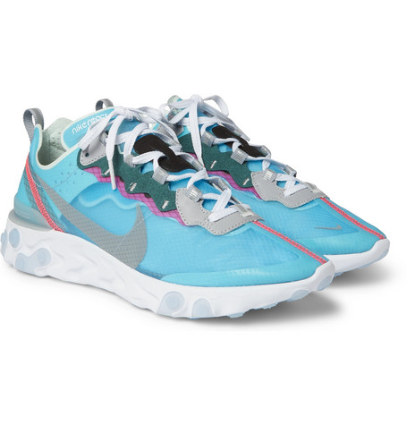 React Element 87 Ripstop, Leather And Suede Sneakers - Pink