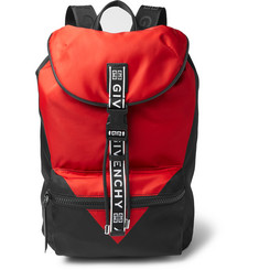 Givenchy - Logo-Jacquard and Leather-Trimmed Colour-Block Nylon Backpack