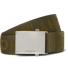 Givenchy 3.5cm Army-Green Leather-Trimmed Logo-Jacquard Webbing Belt