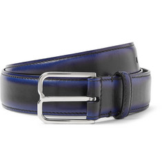 3cm Blue Leather Belt - Black