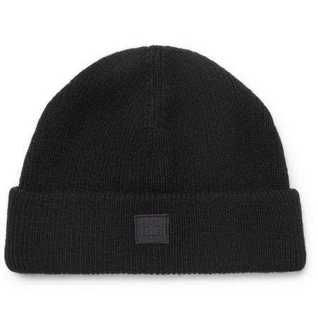 Acne Studios – Ribbed Wool-blend Beanie – Black