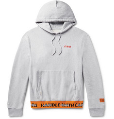 Heron Preston Printed Mélange Loopback Cotton-Jersey Hoodie
