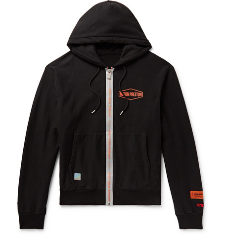 Reflective Trimmed Logo Print Loopback Cotton Jersey Zip Up Hoodie by Heron Preston