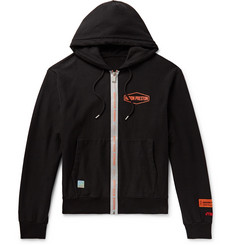 Heron Preston Reflective-Trimmed Logo-Print Loopback Cotton-Jersey Zip-Up Hoodie