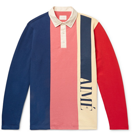 Logo Print Colour Block Loopback Cotton Jersey Polo Shirt by Aimé Leon Dore