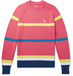Aimé Leon Dore Logo-Embroidered Striped Cotton Sweater