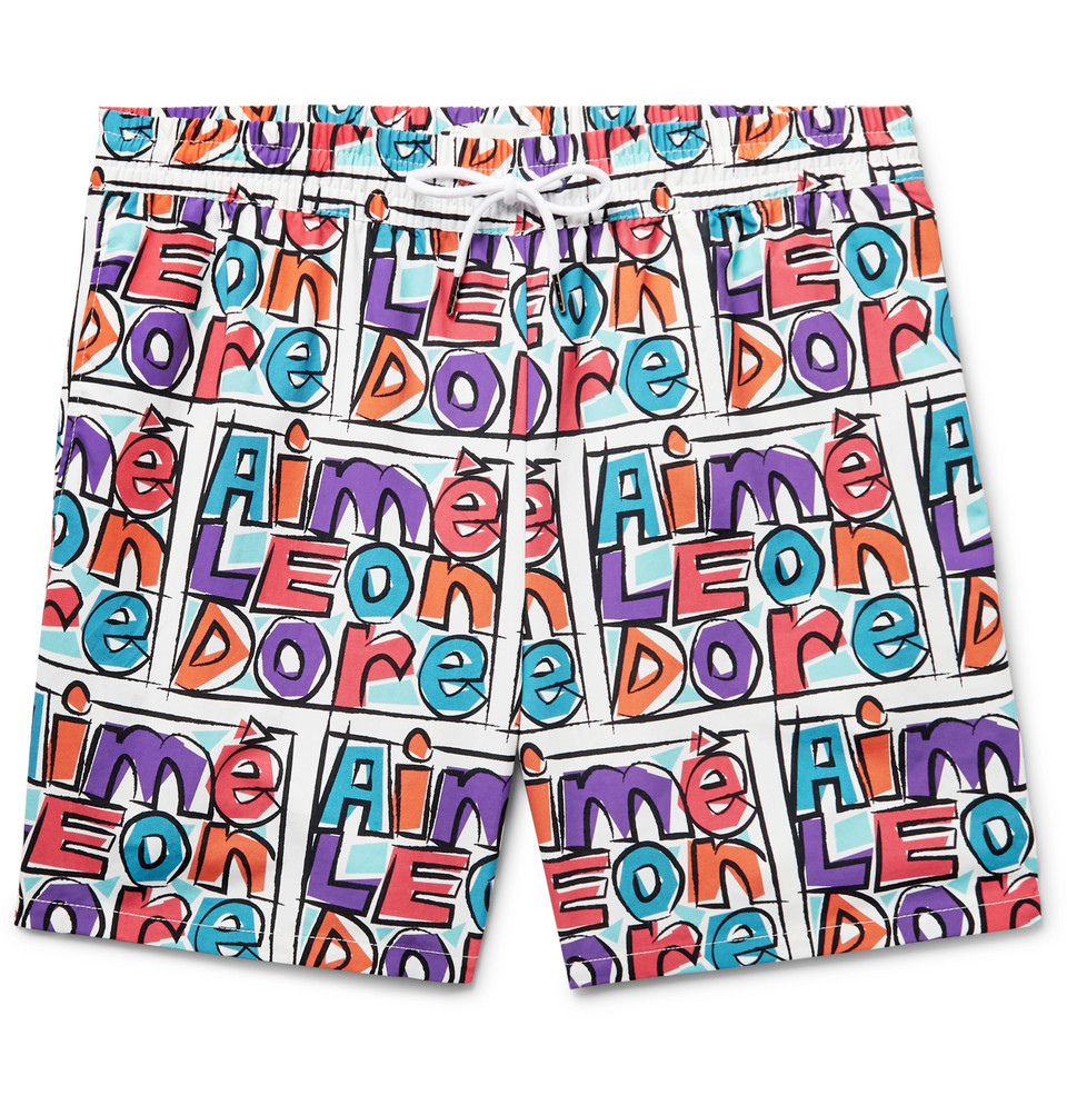 Mid-length Logo-print Swim Shorts - Purple