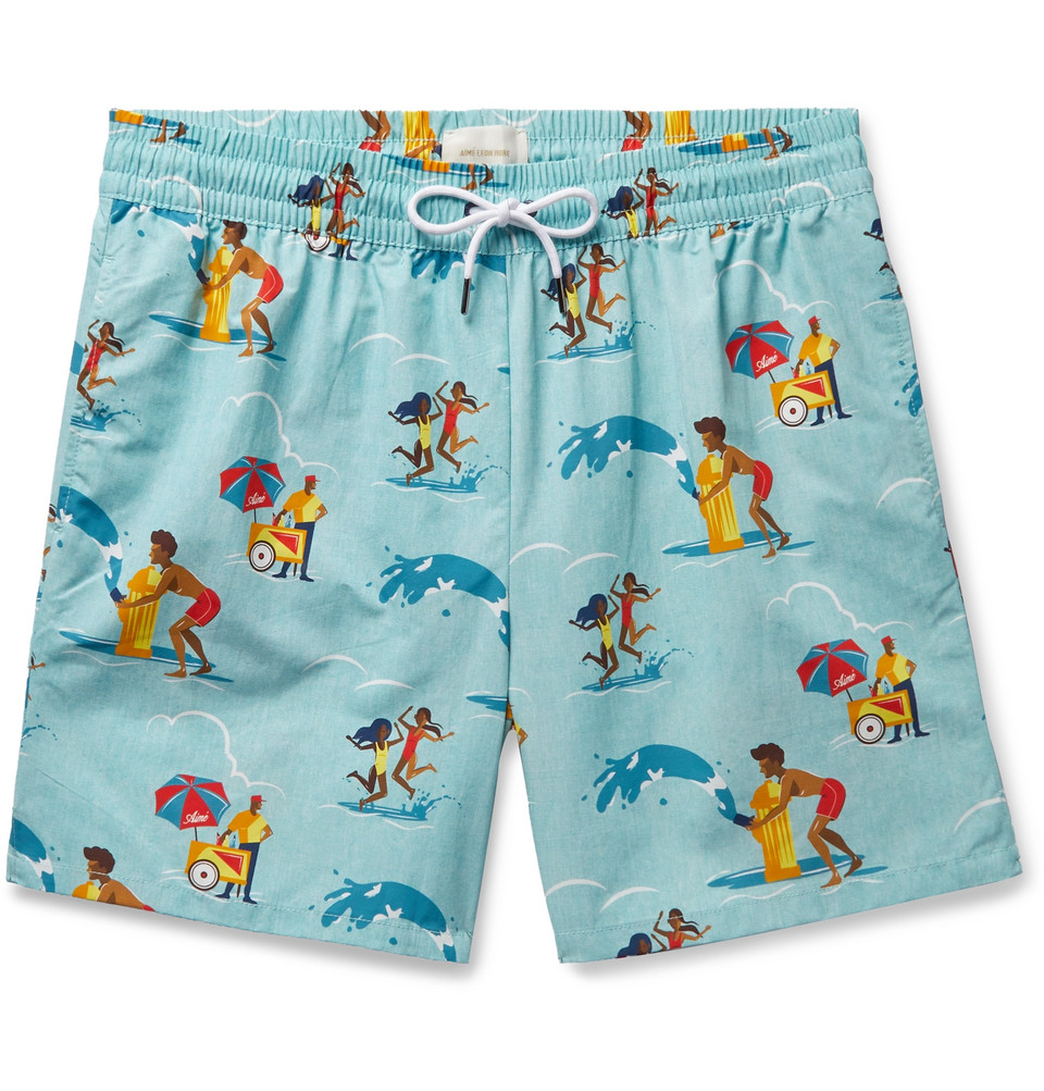 Block Party Printed Swim Shorts - Turquoise