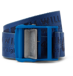 Off-White - 3cm Blue Industrial Logo-Jacquard Webbing Belt