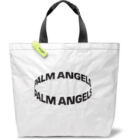 Palm Angels Totes LOGO-EMBROIDERED COATED WOVEN TOTE BAG - WHITE - ONE SIZ