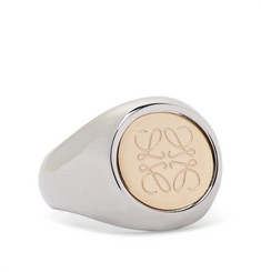 Logo-engraved Silver And Gold-tone Signet Ring - Silver