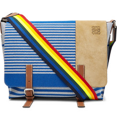 Milit S Leather And Suede-trimmed Striped Canvas Messenger Bag - Blue
