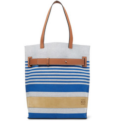 Loewe Leather and Suede-Trimmed Striped Canvas Tote Bag