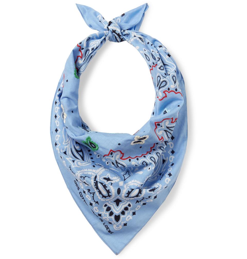 Embroidered Paisley-print Cotton Bandana - Blue