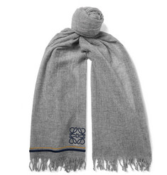 Loewe - Logo-Embroidered Fringed Cashmere Scarf