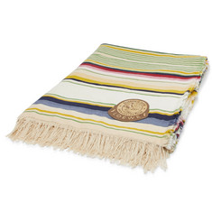 Loewe Fringed Striped Wool and Cotton-Blend Blanket