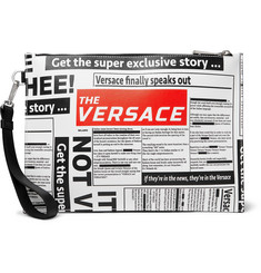 Versace Printed Cross-Grain Leather Pouch