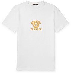 Versace Slim-Fit Logo-Embroidered Cotton-Jersey T-Shirt
