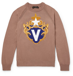Versace Appliquéd Cotton Sweater