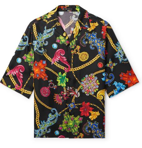 511e56ab Versace - Camp-Collar Printed Silk-Twill Shirt