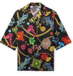 Versace Camp-Collar Printed Silk-Twill Shirt