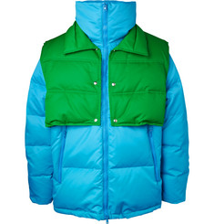 Oversized Quilted Shell Down Jacket With Detachable Gilet - Light blue