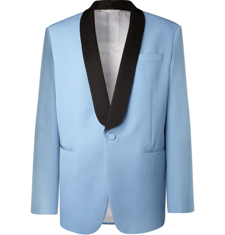 CALVIN KLEIN 205W39NYC | CALVIN KLEIN 205W39NYC - Light-blue Oversized Satin-trimmed Wool Tuxedo Jacket - Light blue | Goxip