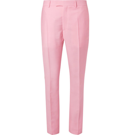 CALVIN KLEIN 205W39NYC | CALVIN KLEIN 205W39NYC - Slim-fit Striped Mohair And Wool-blend Trousers - Pink | Goxip