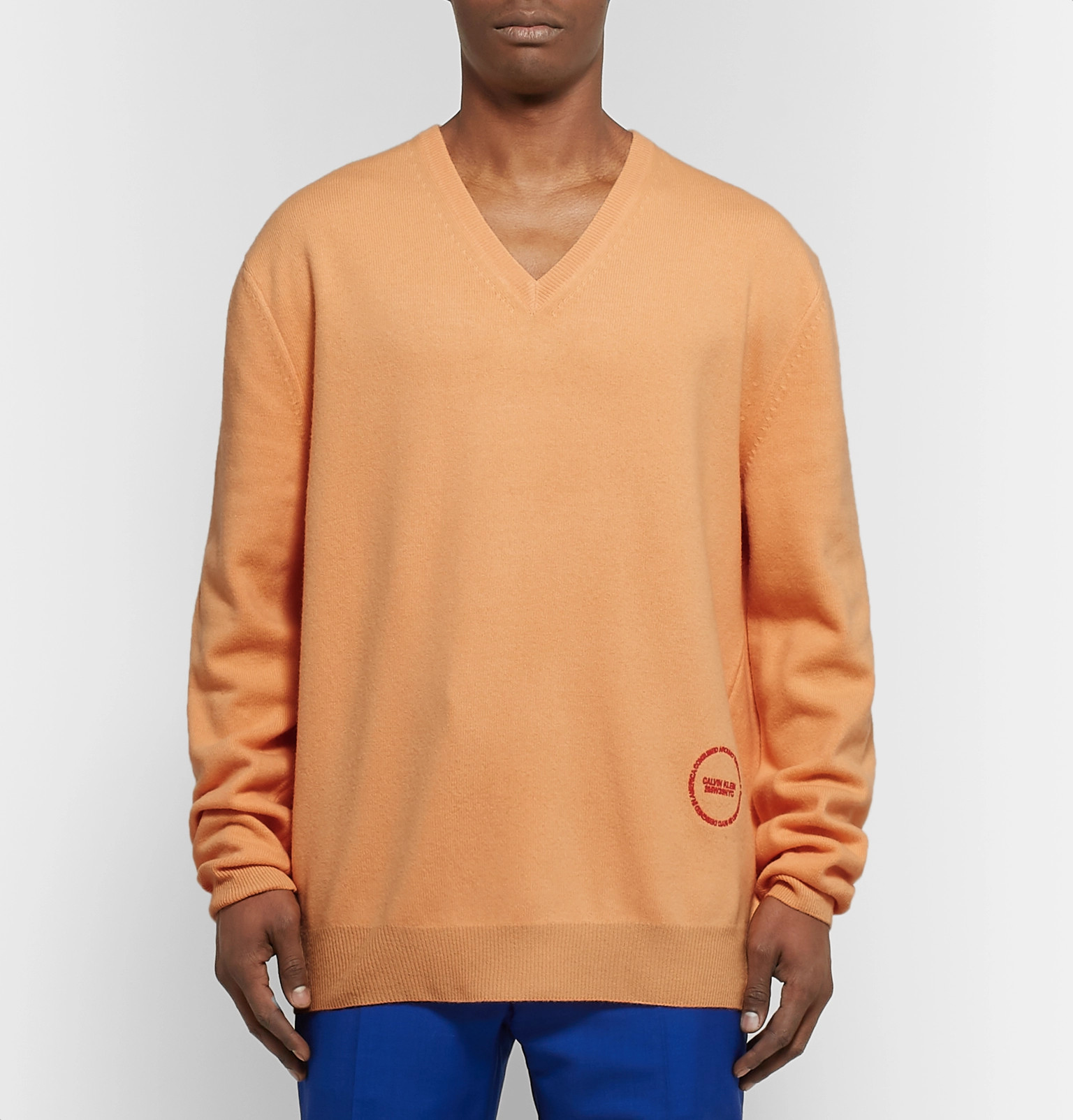 b3b71e658afe CALVIN KLEIN 205W39NYC - Logo-Embroidered Wool and Cotton-Blend Sweater