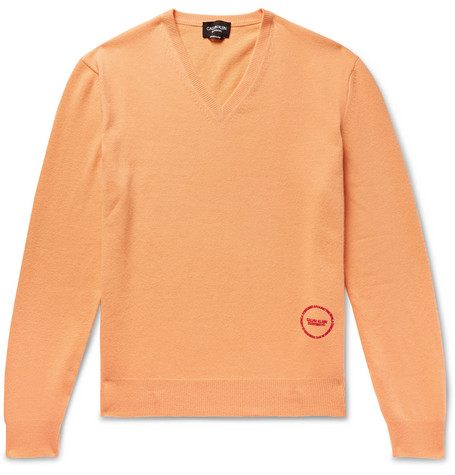 b87ada2e4c7b CALVIN KLEIN 205W39NYCLogo-Embroidered Wool and Cotton-Blend Sweater