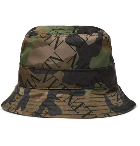 Valentino – Logo And Camouflage-print Shell Bucket Hat – Green
