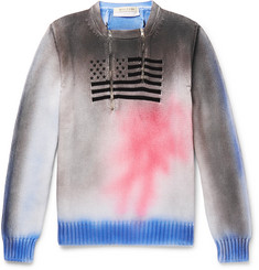 1017 ALYX 9SM Embroidered Spray-Painted Cotton Half-Zip Sweater