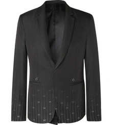 1017 ALYX 9SM Black Slim-Fit Silk and Wool-Blend Jacquard Suit Jacket