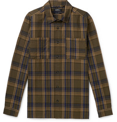 A.P.C. Achille Checked Cotton and Linen-Blend Canvas Shirt