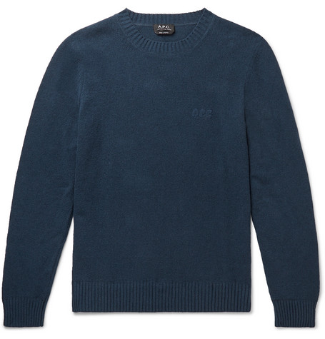 Micka Logo Embroidered Textured Cotton Blend Sweater by A.P.C.