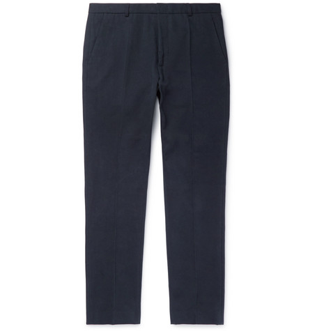 A.p.c. Pants Navy Cropped Slim-Fit Mercerised Cotton-Canvas Trousers