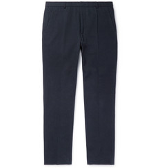 A.P.C. - Navy Cropped Slim-Fit Mercerised Cotton-Canvas Trousers