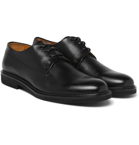 Gustave Polished-leather Derby Shoes - Black