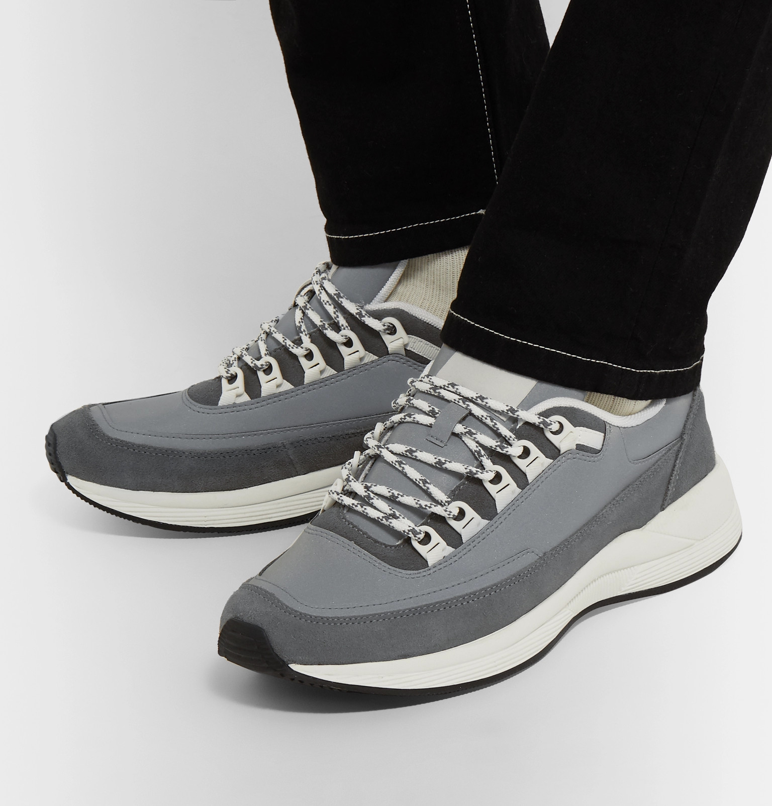 d4157f59423e A.P.C. - Techno Homme Reflective-Panelled Suede and Nylon Sneakers