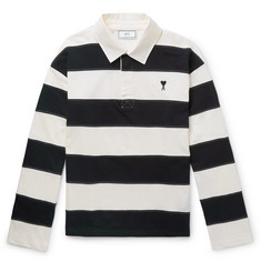 AMI - Logo-Embroidered Striped Cotton-Jersey Rugby Shirt