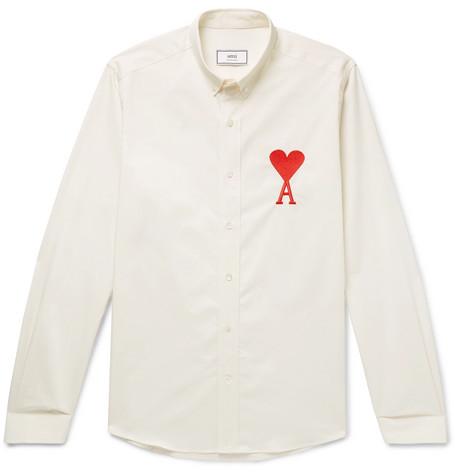AMI – Button-down Collar Logo-embroidered Cotton Shirt – Cream